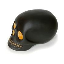 Craneo Decorativo De Resina Mono Negro Dorado Skull Decora