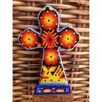 Cruz Forrado Con Chaquira, Arte Huichol