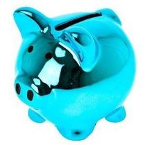 Alcancía De Cerdo Cromado Azul Mini Puerco Pequeña