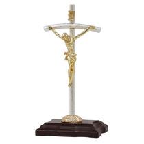 Cristo, Cruz, Crucifijo. Chapa De Oro Con Plata $73.00