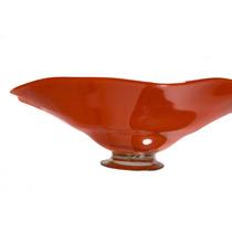 Platón Ondulado De Vidrio Soplado Color Opalino 55 Cms