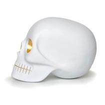 Craneo Decorativo De Resina Mono Blanco Dorado Skull Decora