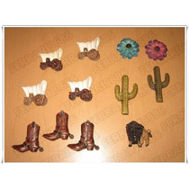 10 Imanes Tema Viejo Oeste - Botas Cactus Carretas - Usados