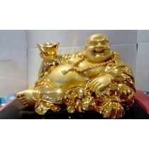 Estatua De Buda Dorada Con Base De Madera
