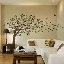 Bello Vinilo Decorativo Árbol De Hojas Volando 3 Colores