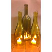 Porta Velas De Botellas Recicladas De Vino Sin Fondo