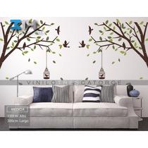 Vinilo Decorativo Arbol, Rama, Jaulas Y Pájaros. Calcomania