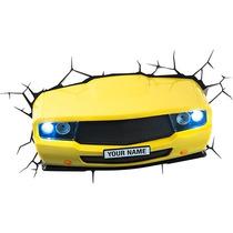 Lampara Para Pared En Forma De Auto Deportivo Amarillo 3d