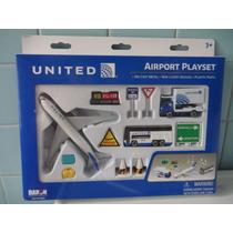 Set De Aeropuerto Con Avion A Escala De United Super Imm
