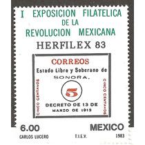 Mexico 1983 Exp. Filatelica Revolución Mexicana Sonora Vbf