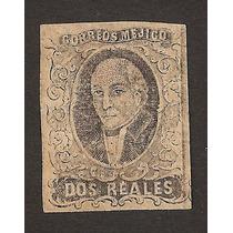 Sello Negro Hidalgo 1861 Dos Reales Sin Distrito