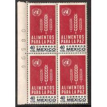 Block De 4 C Folio Onu Alimentos Para La Paz Trigo 1963
