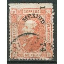 Sc 101 Año 1874 B1 Hidalgo 25c Rojo Dist 1 Mexico
