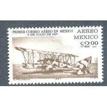 Avión Biplano Primer Correo Aereo Mexico 50 Años 1967