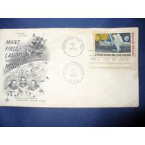 Timbre Y Sobre Postal El Hombre A La Luna