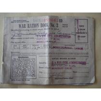 Raro Libreta De Raciones Granja E. U. De 1943 Segunda Guerra