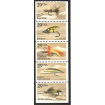 1991 Estados Unidos Pesca Con Moscas Insectos Tira 5 Mnh