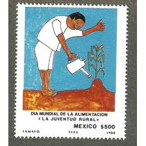 Estampilla Dia Mundial Alimentación, Pintura Tamayo 1988