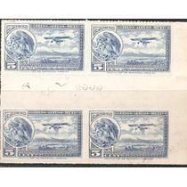 1930 32 Escudo Aeroplano Block 4 Puente Gutter 5c Y Folio