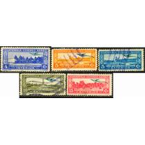 0534 Guatemala Edificios Quetzal Serie 5 Sellos Usados 1936