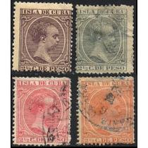 1393 Cuba Alfonso 13 En Serie 4 S 2.5c Usados 1890-97