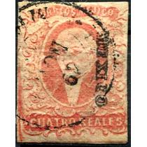1423 Clasico Rojo Rosa 4 Reales Dto México Usado 1856