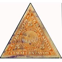 1700 El Salvador Triangular Imperforado 5c Usado 1921