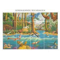 1994 Nicaragua Dinosaurios Hoja Souvenir 16 Sellos Nuevos