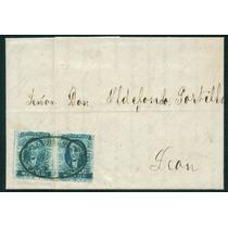 Mexico 1856 Par Medio Real Scott 1 1er Timbre Sobre Certific