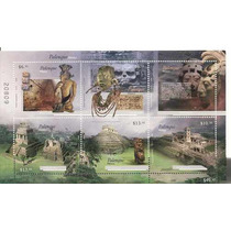 Arqueologia Palenque 6 Estampillas Hojita Souvenir 2008 Mdn