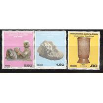 1980 Mèxico Serie Monumentos Prehispanicos 3 Sellos Mint Nh