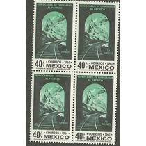 Block De 4 Ferrocarril De Chihuahua-pacifico Nueva 1961 Vbf