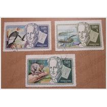 3 Estampillas Timbre Postal - Alejandro De Humboldt -cuba 69