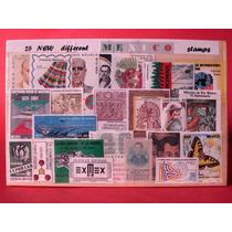 25 Timbres Postales De México