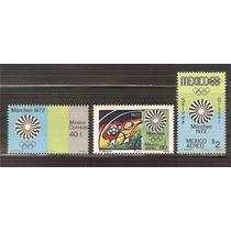1972 México Juegos Olímpicos Munich 72 3 Sellos Nuevos