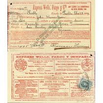 México, Recibo De Valores Express Wells Fargo 1899