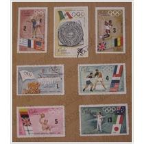 7 Timbres Postales Olimpiada Mundial Mexico 68 /emisión Cuba
