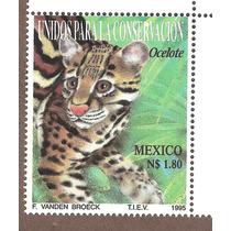Estampilla Conservación Ocelote Fauna 1995 Nueva