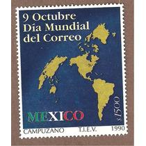 Estampilla Mapas Dia Mundial Correo 1990