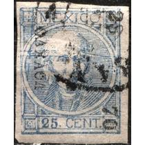 2510 Clásico Hidalgo Scott#61 Oaxaca #23 70 25c Usado 1870