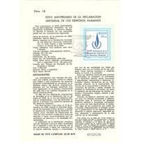 Hoja Carnet Primer Día 35 Aniv Derechos Humanos 1983