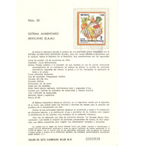Hoja Carnet Primer Día Sistema Alimentario 1982