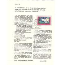 Hoja Primer Dia Onu Espacio Ultrterrestre Paz 1982