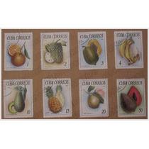 Colección 8 Estampas Timbres Postales - Frutas - Cuba 1965