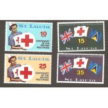 Cruz Roja De Islas De Santa Lucía Enfermera Y Banderas
