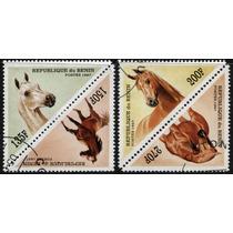 0984 Caballos Triangulares Rep Benin 4 Sellos Usados 1997