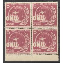 Block De Cuatro De 5 Pesos De 1946 Unidos Por La Paz