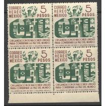 Block De Cuatro Aereos De 5 Pesos Del Año De 1946 Onu