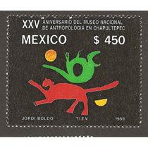 Estampilla Museo Antropología México 1989 Nuevas
