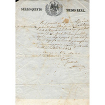 México, Papel Sellado, Sello 5° Medio Real 1854, Saltillo